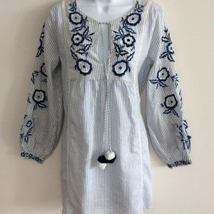 ZARA TRF COLLECTION EMBROIDERED COTTON DRESS SZ S